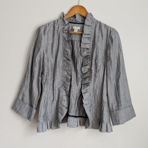 Chico's Striped Ruffle Jacket
